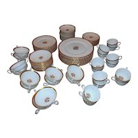 Minton Gold Crocus H-4765 Dinnerware Service for 10+  Plates Cups & Saucers 86 Pieces