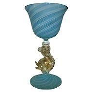 4 Salviati Murano Venetian Wine or Champagne Glasses Gold Flecked Dolphin Stems Blue White Latticino Italian