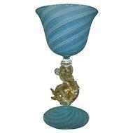 4 Salviati Murano Venetian Wine Glasses Gold Flecked Dolphin Stems Blue White Latticino Italian