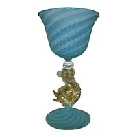 4 Salviati Murano Venetian Cordial Glasses Gold Flecked Dolphin Stems Blue White Latticino Italian