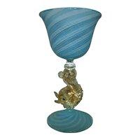 4 Salviati Murano Venetian Aperitif Glasses Gold Flecked Dolphin Stems Blue White Latticino Italian
