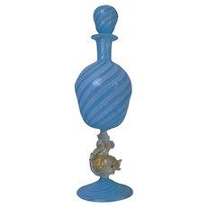 Salviati Murano Venetian Glass Wine Decanter Gold Flecked Dolphin Stem Blue White Latticino Italian
