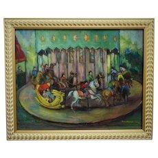 Carousel Merry-Go-Round Painting Horses Children Mid Century Modern Signed