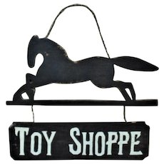Vintage Toy Shoppe Advertising Trade Folk Art Sign w/ Horse