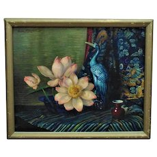 Vintage Chinese Motif Still Life Oil Painting Flowers Heron Listed Artist Signed Mid Century Modern Asian