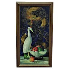 Vintage Chinese Motif Still Life Oil Painting Dragon Bird & Fruit Listed Artist Signed Mid Century Modern Asian