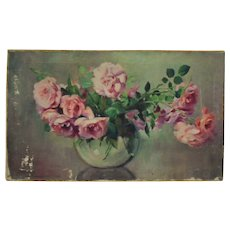 Antique Still Life Oil Painting Dorothy Perkins Climbing Roses Flowers Listed Artist Signed Margery Stocking Hart