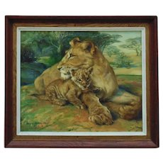 Vintage Lion & Cub Oil Painting Portrait Mid Century Modern Cats Signed Margery Stocking Hart Africa