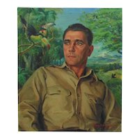 Vintage Portrait Oil Painting Military Gentleman Man Signed Listed Artist Margery Stocking Hart