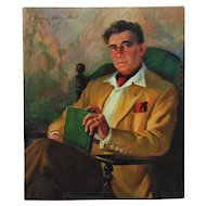 Vintage Portrait Oil Painting Gentleman Man Signed Listed Artist Margery Stocking Hart