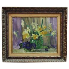 Vintage Still Life Oil Painting Daffodils & Violets Mid Century Modern Flowers Floral Signed