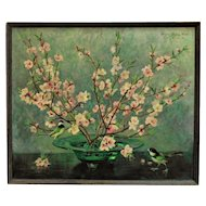 Vintage Chinese Motif Still Life Oil Painting Cherry Blossoms & Birds Listed Artist Signed Asian