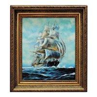 LARGE Antique Clipper Ship Painting Sailing Seascape Oil on Canvas