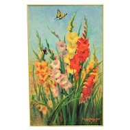 """LARGE 36"""" Vintage Still Life Painting Gladiolus & Butterflies Mid Century Modern Flowers Floral Signed"""