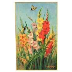 "LARGE 36"" Vintage Still Life Painting Gladiolus & Butterflies Mid Century Modern Flowers Floral Signed"