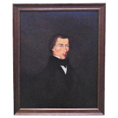 19th c. Portrait Painting of a Gentleman Man Oil on Canvas Antique American School
