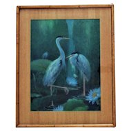 Chinese Crane or Heron Birds Portrait Pastel Signed Margery Stocking Hart Painting Mid Century Modern