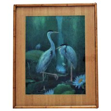 Chinese Crane or Heron Birds Portrait Pastel Signed Margery Stocking Hart Painting Mid Century Modern