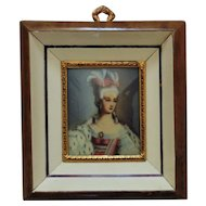 Italian Miniature Portrait Watercolor Painting Marie Antoinette Signed Renoir
