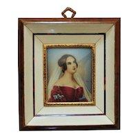 Italian Miniature Portrait Watercolor Painting Empress Josephine Bonaparte Signed Renoir
