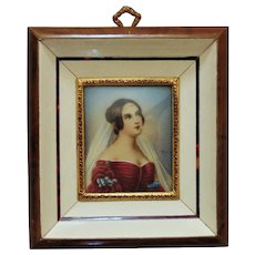 Italian Miniature Portrait Watercolor Painting Empress Josephine Bonaparte Signed Renoir