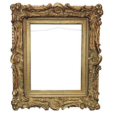"""19th c. French Rococo Style Picture Frame Gilt Wood & Plaster Antique 10 1/2"""" x 13 3/8"""" Opening"""