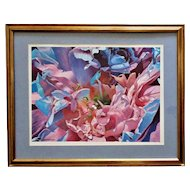 Modern Abstract Pastel Painting Signed Howard Besnia Floral Flowers