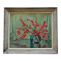 Vintage Chinese Motif Still Life Oil Painting Flowers & Confucius Signed Margery Stocking Hart Mid Century Modern Asian