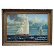 LARGE Sailing Ship Schooner Oil Painting Nautical Seascape Signed J. Gloguen Listed Artist