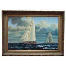 LARGE Sailing Ship Schooner Oil Painting Nautical Seascape Signed J. Gloguen Listed Artist