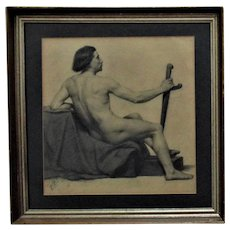 Antique Nude Male Charcoal Drawing Portrait Man Signed