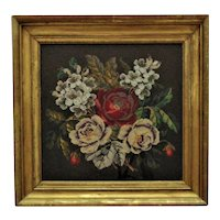 19th c. Victorian Needlework Roses Still Life w/ Yarn & Beads Beaded Flowers Floral Antique
