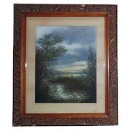 19th c. Pastel Landscape Painting Antique Victorian