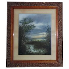 19th c. Pastel Landscape Painting Antique Victorian