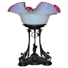 19th c. Gothic Brides Basket Cherub Birds Griffins Antique Victorian Reed & Barton Ebonized Silver Plate