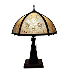 Arts & Crafts Table Lamp Reverse Painted Shade Mission Bungalow