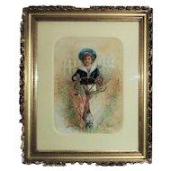 19th c. Victorian Watercolor Portrait Painting Child Boy Girl Antique Patriotic Sailor