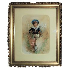 19th c. Victorian Watercolor Portrait Painting Child Boy Girl Antique Patriotic Sailor