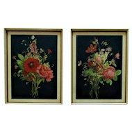 Pair of Art Deco Still Life Prints Flowers Floral