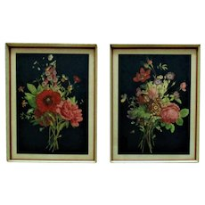 Pair of Art Deco Still Life Prints Flowers Floral