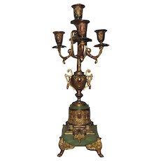 Antique Gilt Bronze Candelabra Lamp Gilt Bronze & Green Alabaster Candelabrum Candle Holders