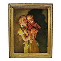 Mother & Child Portrait Oil Painting Signed Raymond James Stuart 1937 Illustration