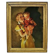 Mother & Child Portrait Oil Painting Signed Raymond James Stuart 1937 Illustration