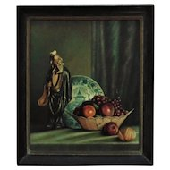 Vintage Chinese Motif Still Life Oil Painting Flowers & Confucius Signed Mid Century Modern Asian