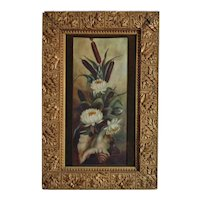 Antique Victorian Still Life Oil Painting Flowers Cattails & Conch Shell Signed Snell & Dated 1901