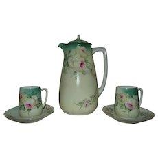 Vintage Porcelain Chocolate Set Pot Cups & Saucers Bavaria Roses Flowers