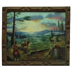 Native American Landscape Oil Painting Indians Deer Buck Hunting Signed in Tramp Art Picture Frame