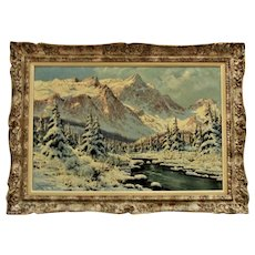 LASZLO NEOGRADY Signed Landscape Painting Oil on Canvas Snowy Mountains