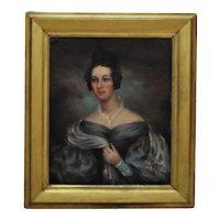 19th c. Portrait Painting Lady Woman American School Oil on Canvas Antique