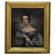 19th c. Portrait Painting Lady Woman American School Oil on Canvas Antique